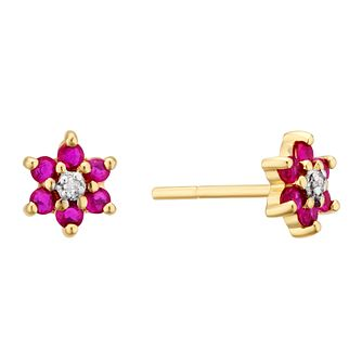 9ct Yellow Gold Ruby & Diamond Flower Stud Earrings - Product number 3403467