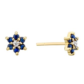 9ct Yellow Gold Sapphire & Diamond Flower Stud Earrings - Product number 3403475