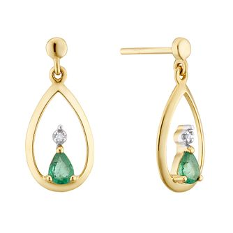 9ct Yellow Gold Emerald & Diamond Tear Drop Earrings - Product number 3403483