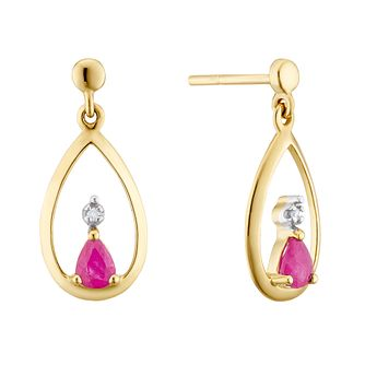 9ct Yellow Gold Ruby & Diamond Tear Drop Earrings - Product number 3403491