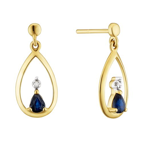 9ct Yellow Gold Sapphire & Diamond Tear Drop Earrings - Product number 3403505