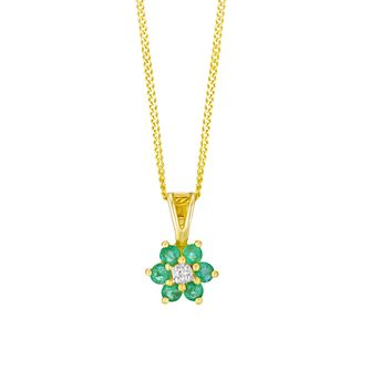 9ct Yellow Gold Emerald & Diamond Flower Pendant - Product number 3403513
