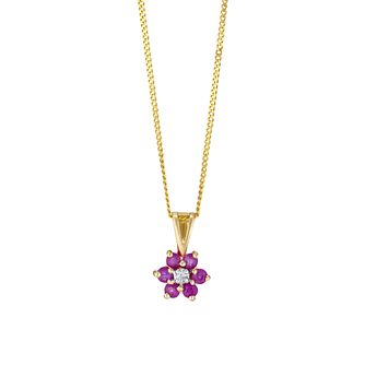 9ct Yellow Gold Ruby & Diamond Flower Pendant - Product number 3403521