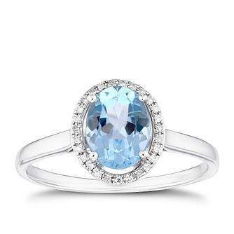9ct White Gold Oval Sky Blue Topaz & Diamond Ring - Product number 3403556