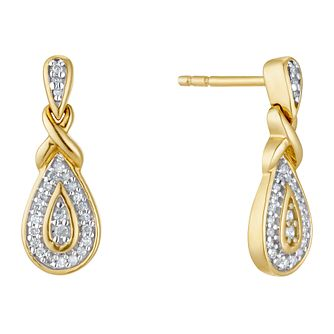 9ct Yellow Gold 1/10ct Diamond Pear Drop Earrings - Product number 3403939