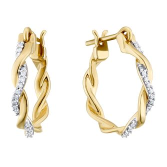 9ct Yellow Gold 1/10ct Diamond Twist Hoop Earrings - Product number 3403955
