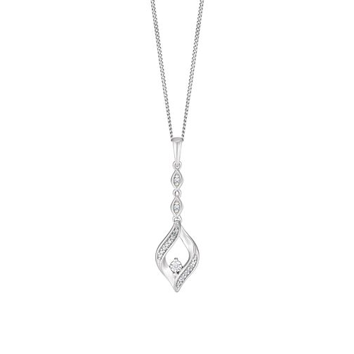 Sterling Silver Diamond Fancy Open Drop Pendant - Product number 3404056