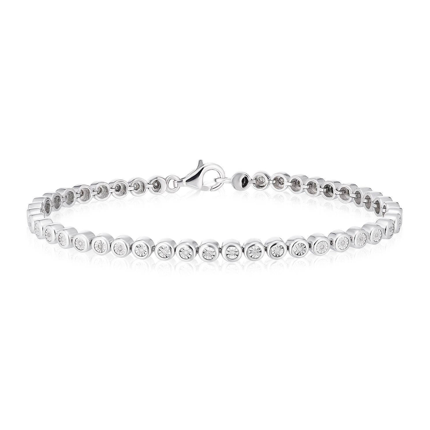 Sterling Silver 1/10ct Illusion Set Diamond Round Bracelet - Product number 3404072