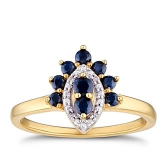 9ct Yellow Gold Black Sapphire & Diamond Halo Ring - Product number 3404080