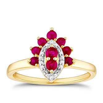 9ct Yellow Gold Ruby & Diamond Halo Ring - Product number 3404242