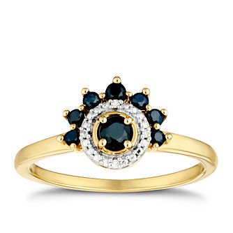 9ct Yellow Gold Black Sapphire & Diamond Halo Ring - Product number 3404439