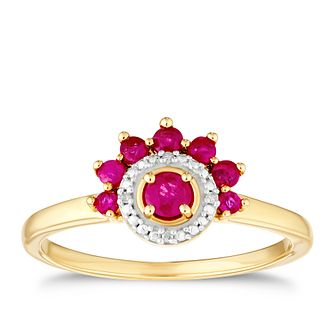 9ct Yellow Gold Ruby & Diamond Halo Ring - Product number 3404641