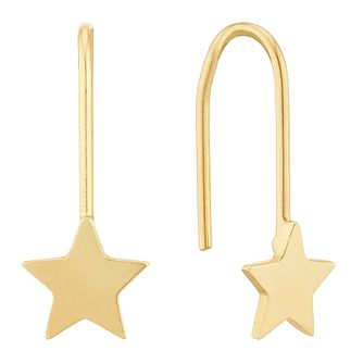 9ct Yellow Gold Star Drop Earrings - Product number 3405559