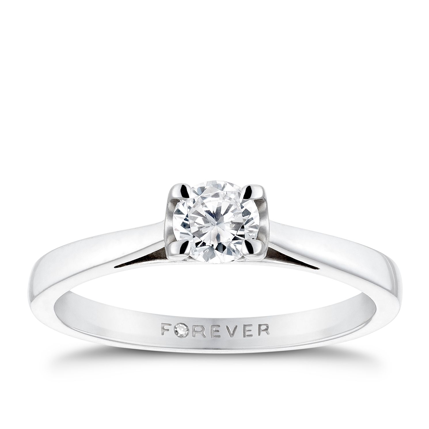 Platinum 0.38ct Forever Diamond Solitaire Ring - Product number 3406725