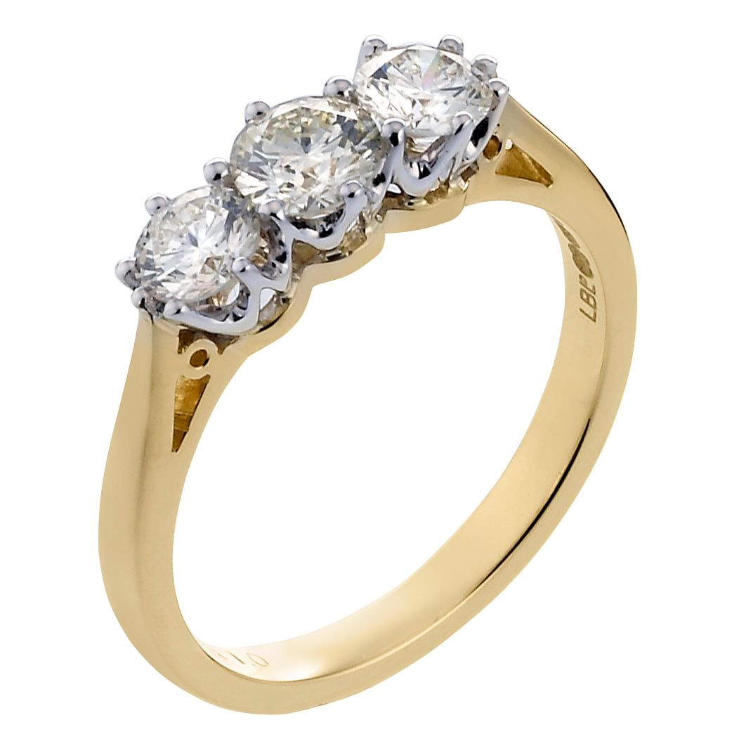 18ct Gold 1ct Total Diamond Trilogy Ring - Product number 3408345