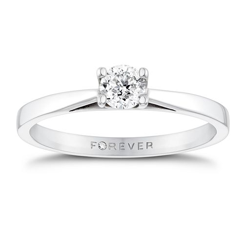 18ct White Gold 1/4ct Forever Diamond Solitaire Ring - Product number 3409597