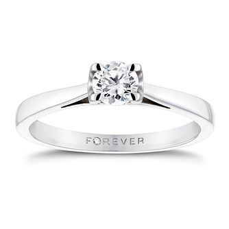 18ct White Gold 0.38ct Forever Diamond Solitaire Ring - Product number 3409759