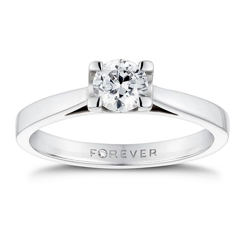18ct White Gold 1/2ct Forever Diamond Solitaire Ring - Product number 3409910