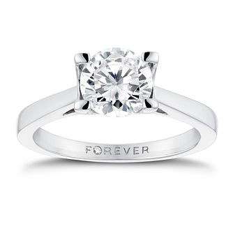 18ct White Gold 1 1/4ct Forever Diamond Solitaire Ring - Product number 3410390