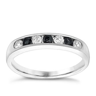 9ct White Gold Sapphire & Cubic Zirconia Eternity Ring - Product number 3410668
