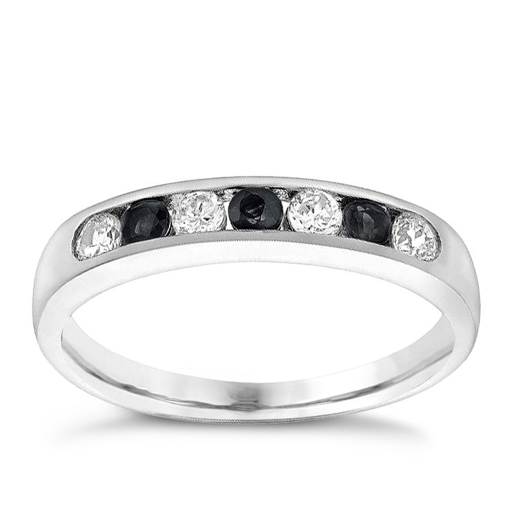 9ct White Gold Sapphire & Cubic Zirconia Eternity Ring