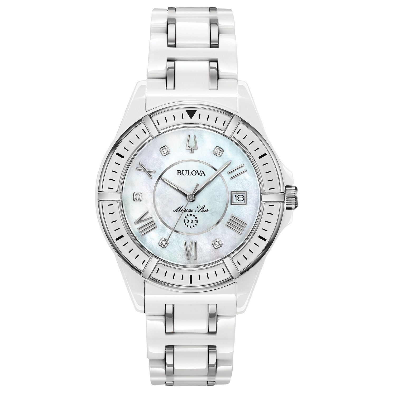 Bulova Marine Star Ladies' White Ceramic Bracelet Watch - Product number 3411028