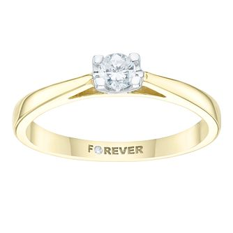 18ct Yellow Gold 1/5ct Forever Diamond Solitaire Ring - Product number 3411168