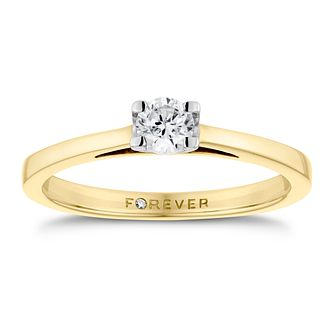 18ct Yellow Gold 1/4ct Forever Diamond Solitaire Ring - Product number 3411397