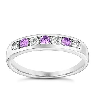 9ct White Gold Amethyst & Cubic Zirconia Eternity Ring - Product number 3411427
