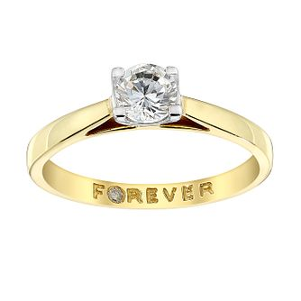 18ct Yellow Gold 0.38ct Forever Diamond Solitaire Ring - Product number 3411605