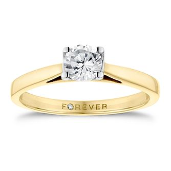18ct Yellow Gold 1/2ct Forever Diamond Solitaire Ring - Product number 3411877