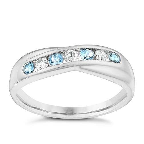 9ct White Gold Blue Topaz & Cubic Zirconia Eternity Ring - Product number 3412393