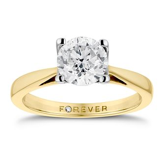 18ct Yellow Gold 1ct Forever Diamond Solitaire Ring - Product number 3413578
