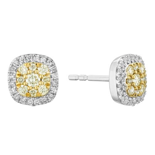 9ct White Gold Yellow Diamond Cushion Stud Earrings - Product number 3414787
