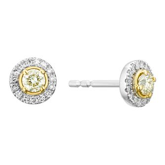 9ct White Gold Yellow Diamond Round Stud Earrings - Product number 3414795