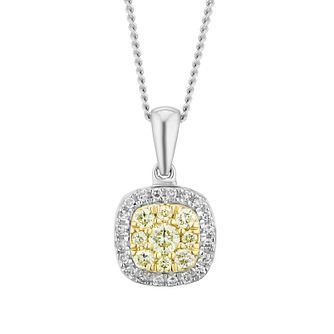 9ct White Gold Yellow Diamond Cushion Pendant - Product number 3414817