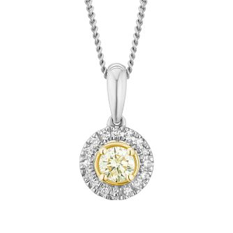 9ct White Gold Yellow Diamond Round Pendant - Product number 3414825
