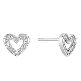 Sterling Silver Diamond Open Heart Stud Earrings - Product number 3414906