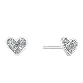 Sterling Silver Diamond Heart Stud Earrings - Product number 3414914