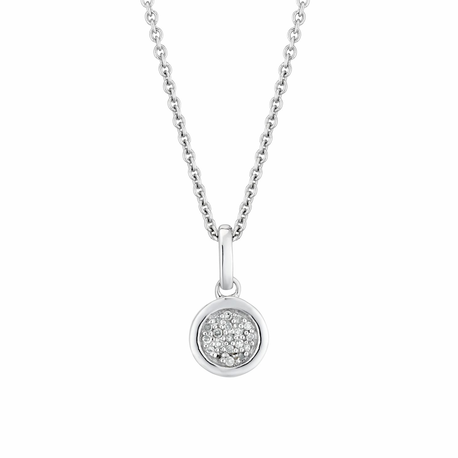 Sterling Silver Diamond Round Pendant - Product number 3414922