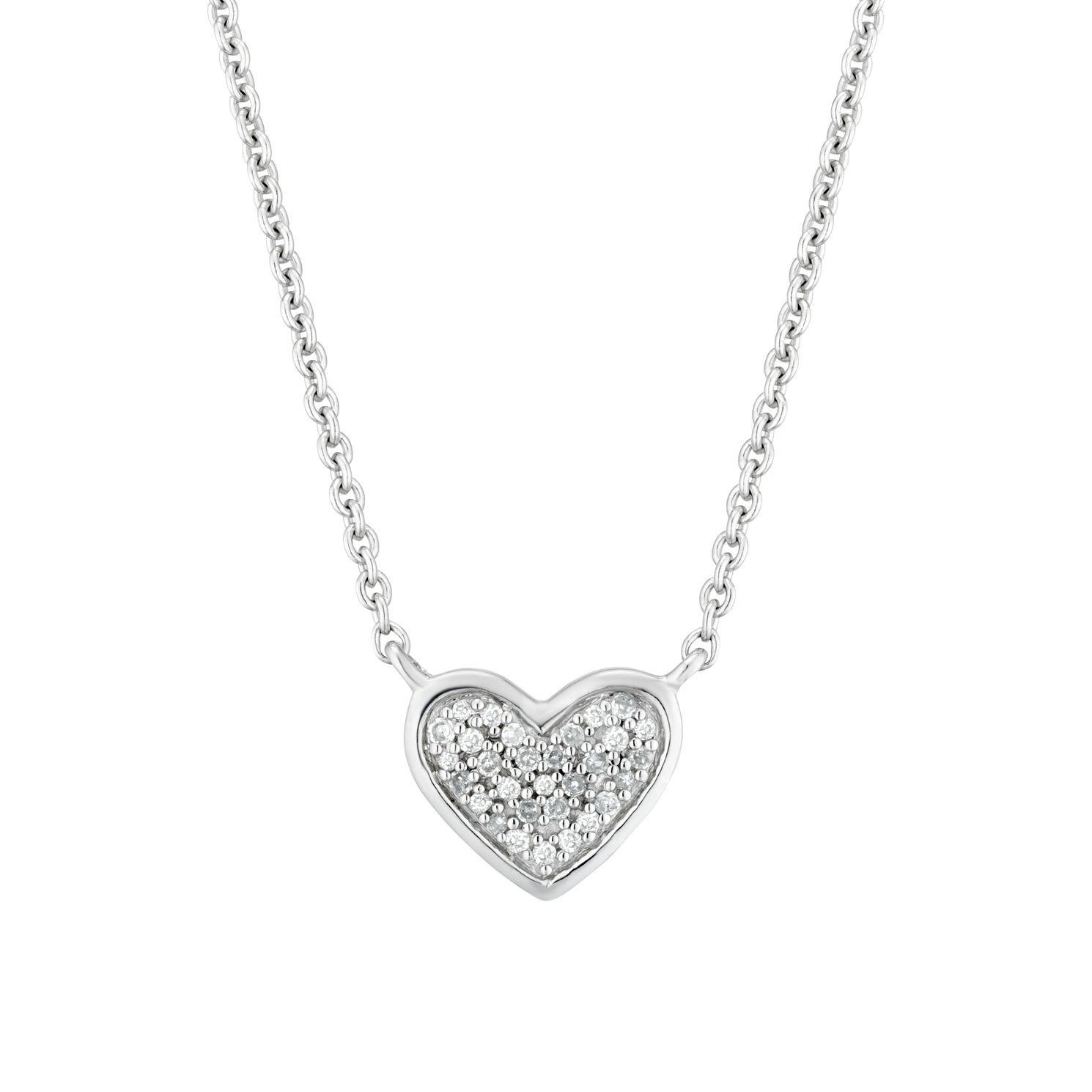Sterling Silver Diamond Heart Pendant - Product number 3414930
