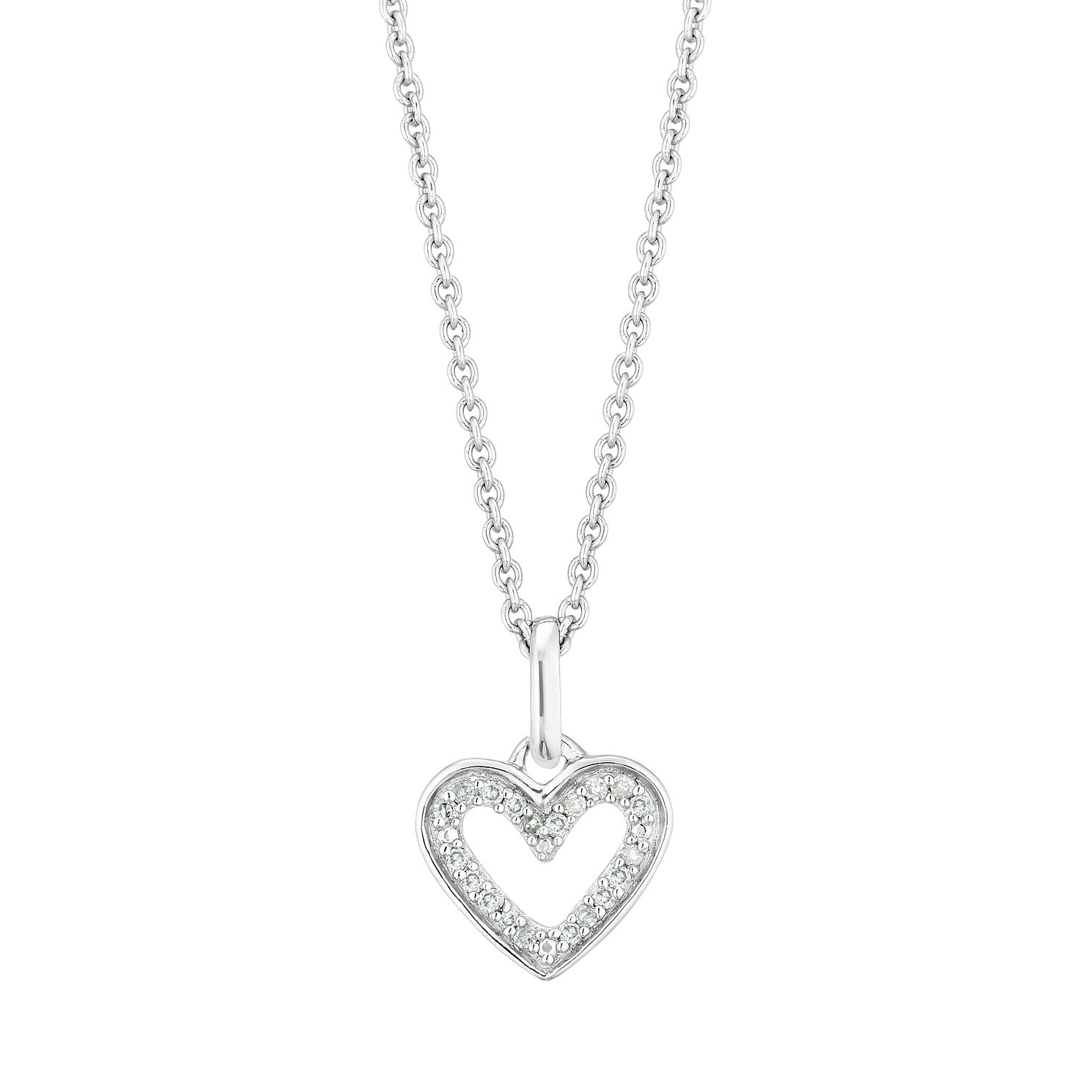 Sterling Silver Diamond Open Heart Pendant - Product number 3414949