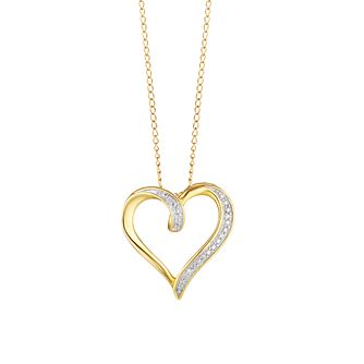 9ct Yellow Gold Diamond Open Heart Pendant - Product number 3415015