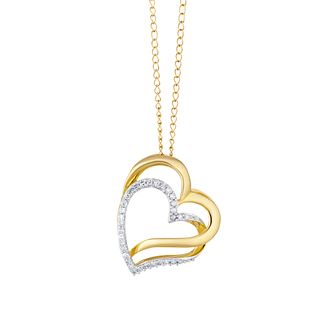 9ct Yellow Gold Diamond Double Heart Pendant - Product number 3415139