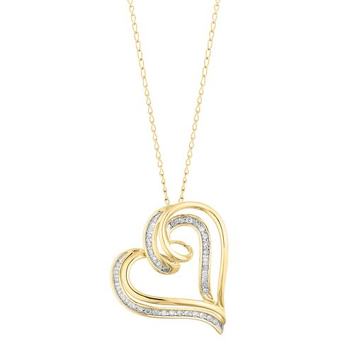 9ct Yellow Gold 1/10ct Diamond Heart Pendant - Product number 3415147