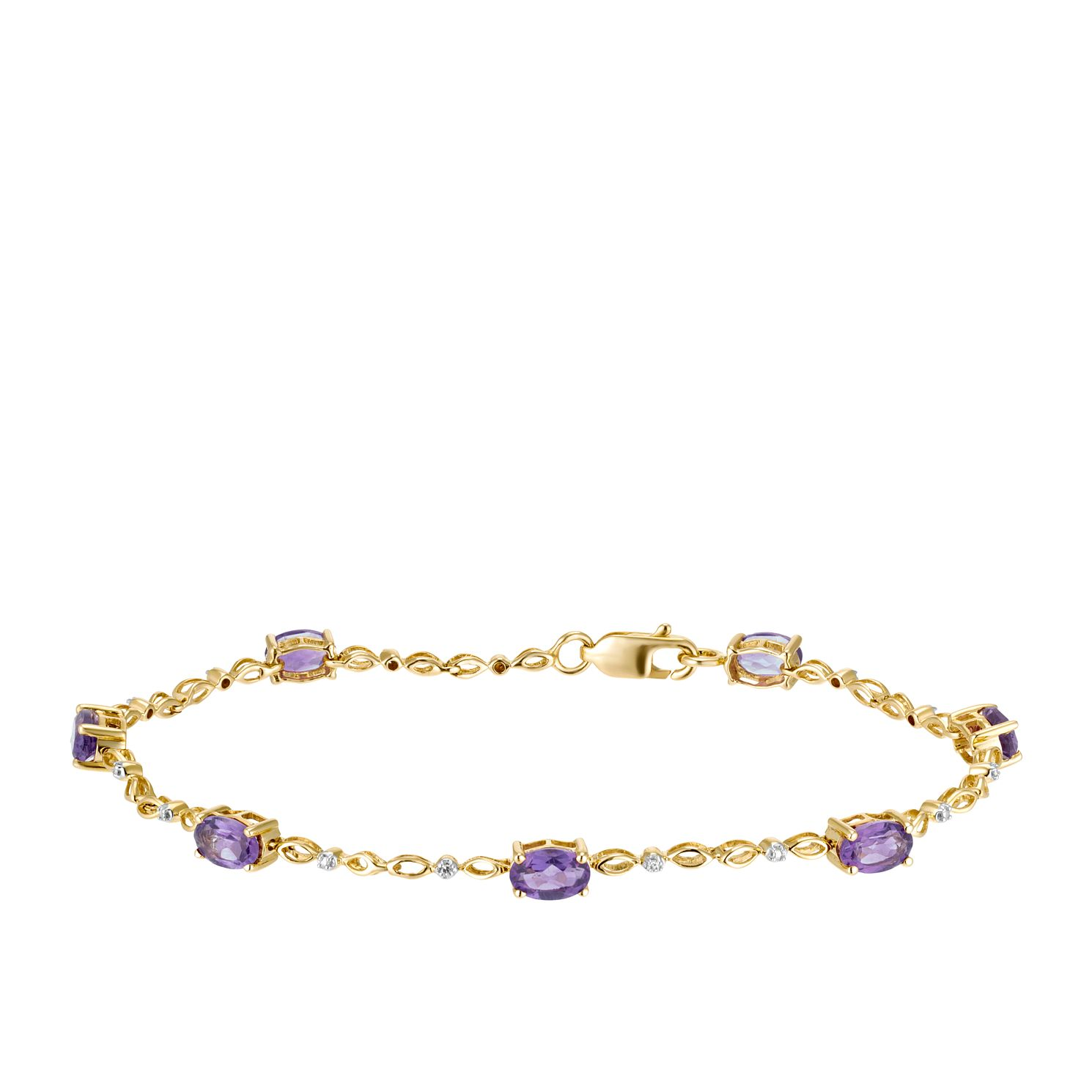 9ct Yellow Gold Oval Amethyst & Diamond Bracelet - Product number 3415287