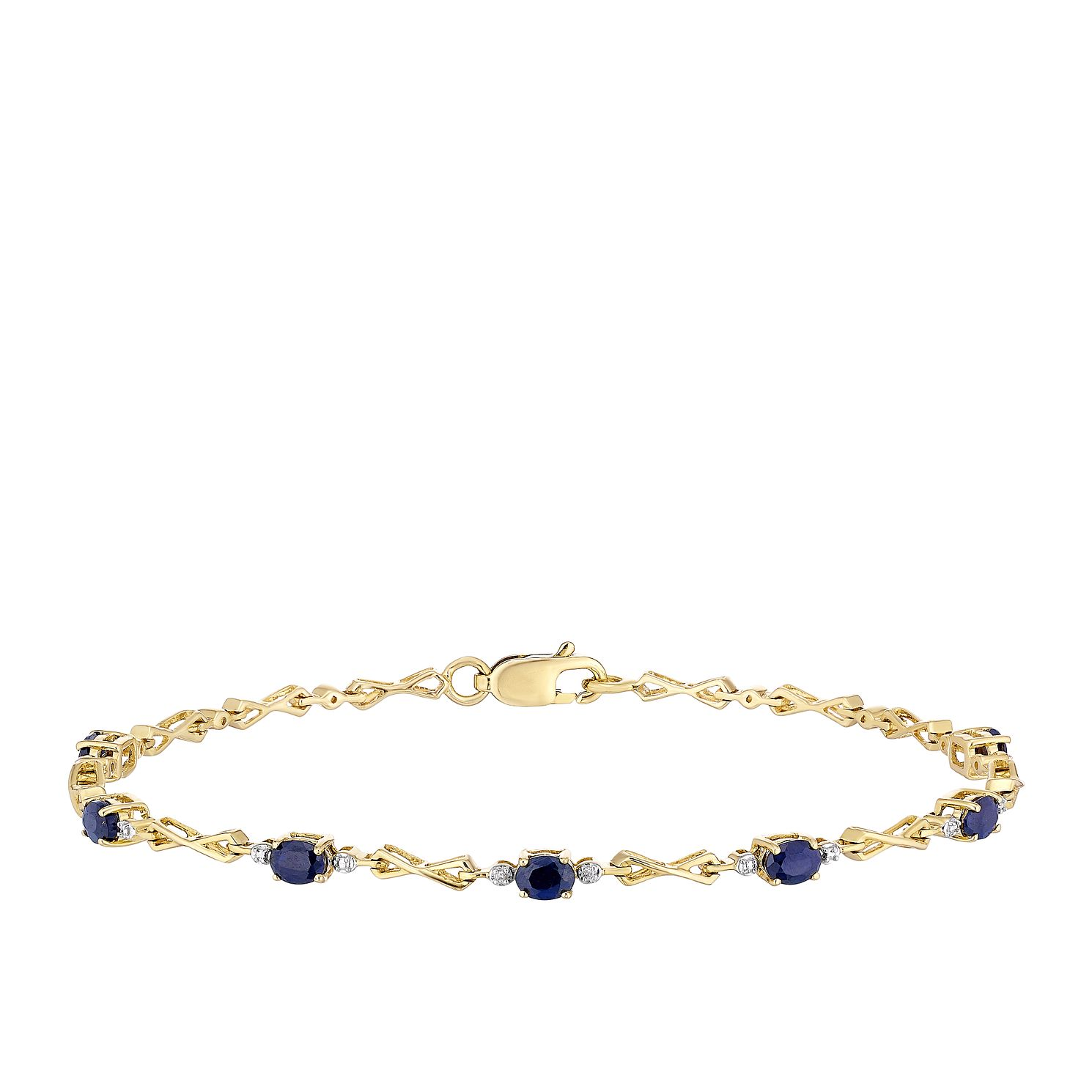 9ct Yellow Gold Sapphire & Diamond Infinity Bracelet - Product number 3415368