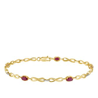 9ct Yellow Gold Ruby & Diamond Infinity Link Bracelet - Product number 3415376