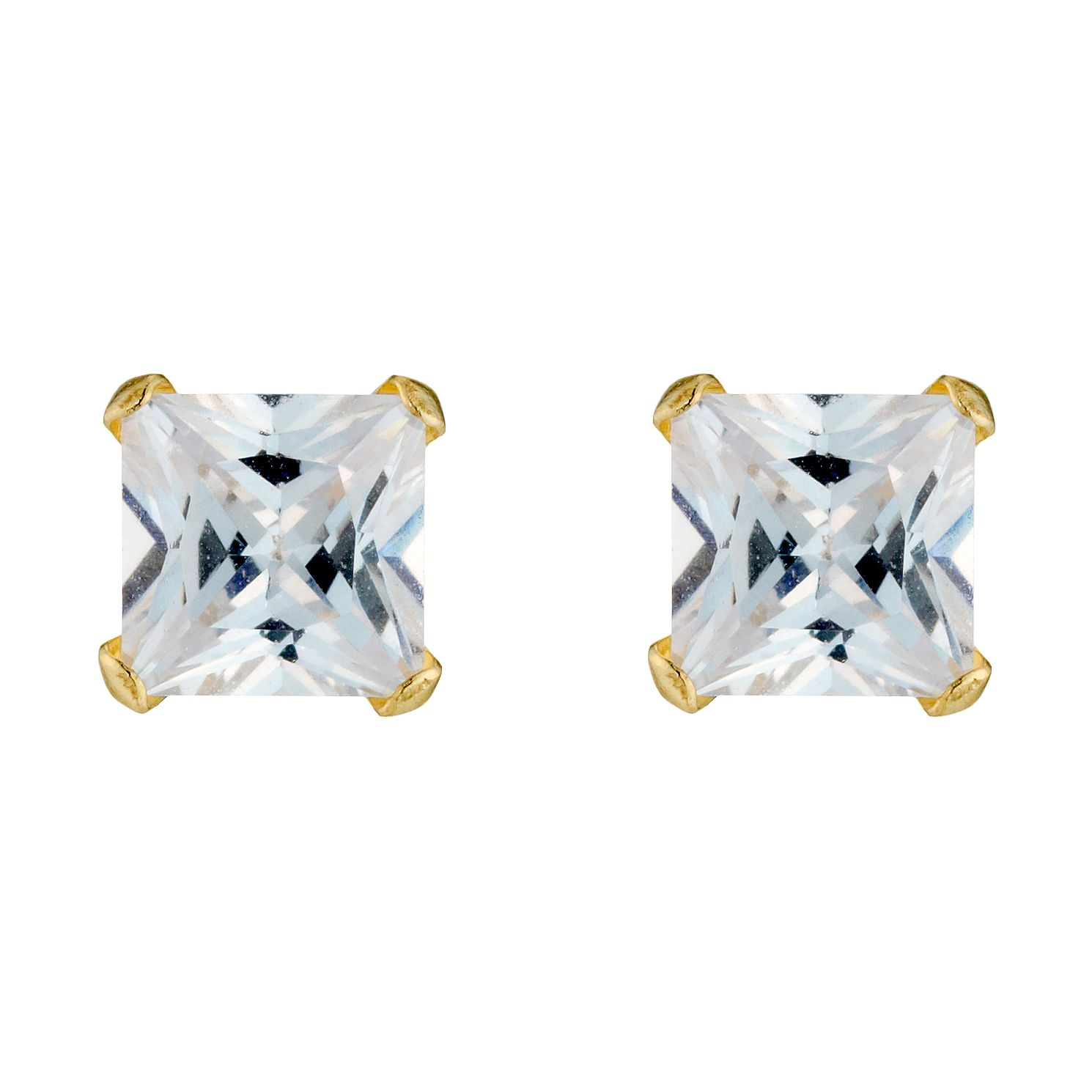 9ct Yellow Gold Cubic Zirconia Square 5mm Stud Earrings - Product number 3416283