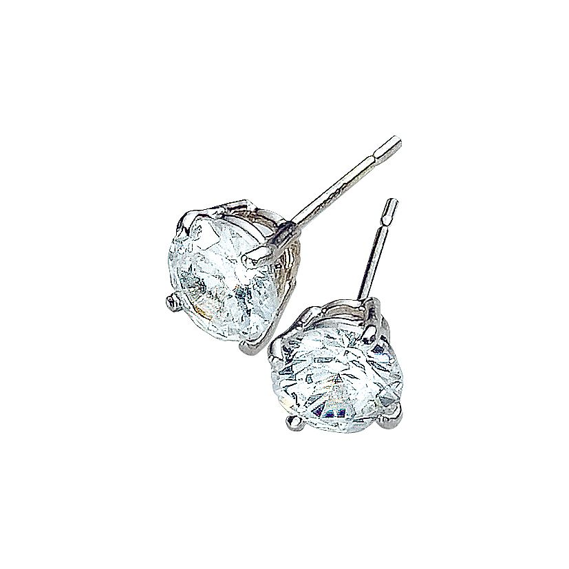 9ct White Gold Cubic Zirconia 6mm Stud Earrings - Product number 3416356